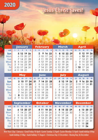 Pocket calendar 2020 A7 flower design