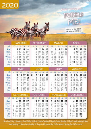 Pocket calendar 2020 A7 animal design (for children)